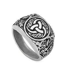 Skyrim Vintage Wicca Valknut Scandinavian Odin Norse Warriors Viking Ring Jewelry Size 7.5
