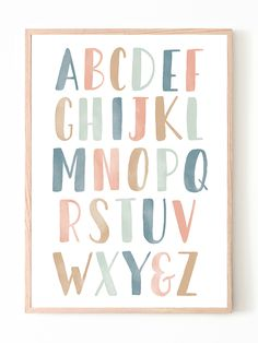 Introduce your kiddo to their ABC's with this hand-lettered watercolor poster. Decorate a wall in your little one's nursery, bedroom, or playroom with this educational print to encourage learning everyday. Download, print, and trim your art within minutes or send it to your local print shop. Alphabet Poster, Alphabet Wall Art, Abc Poster, Alphabet For Kids, Kids Poster, Art Wall Kids, Nursery Wall Art, Nursery Decor, Playroom Wall Decor
