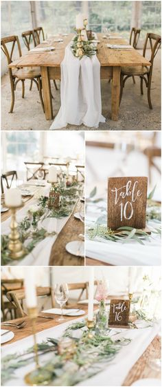 Natural wedding reception, wooden block table numbers, cross-back chairs, long wood tables, white linens, loose leaves, white candles // Ashley Errington Photography #whiteweddingcandles
