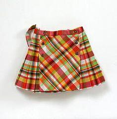 Jupe plissée à bretelles, vintage children pleated skirt with suspenders