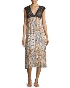 Sleeveless Lace-Bodice Nightgown, Women's, Size: L, Anlfv - Oscar de la Renta Pink Label
