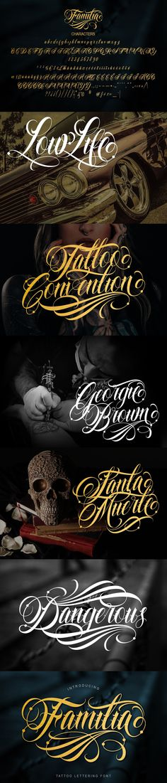 Introducing Familia Tattoo Lettering Font with more details, clean, and more complex. Familia includes uppercase and lowercase letters, numerals, a large range Custom Logo Design, Custom Logos, Tattoo Lettering Fonts, Uppercase And Lowercase Letters, Illustrator Cs, Lower Case Letters, Photoshop, Tattoos, Illustration