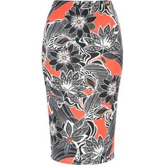 Orange Marcella Printed Co-Ord Pencil Skirt ($21) found on Polyvore featuring women's fashion, skirts, bottoms, elastic waist pencil skirt, pencil skirt, summer skirts, elastic waist skirt and summer pencil skirts