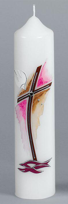 Taufkerze, Nr. 2038R, Höhe=265mm, Ø=60mm, Kreuz, braun, rot, rosa