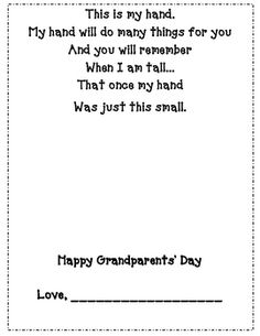 Grandparent's Handprint poem freebie!