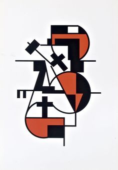 """Erich Buchholz [Germany] (1891-1972) ~ """"Composition"""", 1921. Silkscreen on paper (62 x 43 cm). 