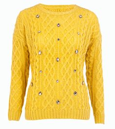 F&F Mustard Embellished Cable Knit Jumper