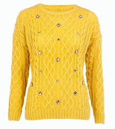 F&F Mustard Embellished Cable Knit Jumper