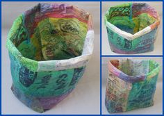 baskets made from fuse plastic bags