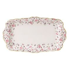Royal Albert Rose Confetti Vintage Formal Rectangular Serving Tray