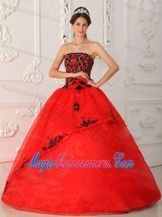 Black and Red Beaded Organza Appliques Sweet 15 Dresses in Clifton