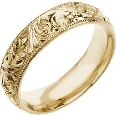 Amazon.com: 6.00mm 14K Yellow Gold Hand-Engraved Wedding Band Ring: Jewelry