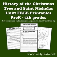 Kids will learn the History of the Christmas Tree as well as Saint Nicholas, the man, in this {FREE} printable Unit Study. Includes activities for PreK - 5th grade. :: www.inallyoudo.net
