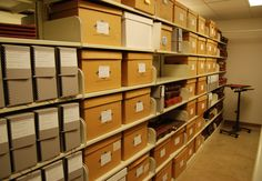 Washington County TN Archives. Downstairs archival storage showing records in various stages of processing.