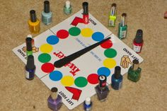 "Tween version of ""spin-the-bottle""...great girls slumber party idea!!"