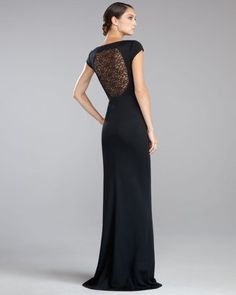 St. John - Shop Online - Dresses - Shimmer Milano Knit Lace-Back Gown