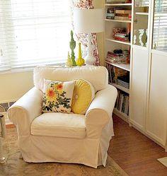 Ikea Ektorp chair and yellow pillows