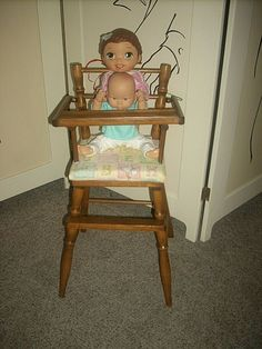 VTG 1950's WOOD WOODEN BABY DOLL HIGH CHAIR SWING TRAY & FABRIC CUSHION SEAT #Unbranded Chair Swing, Swinging Chair, Doll High Chair, Wood Swing, Cushion Fabric, Doll Furniture, 18 Inch Doll, Bjd Dolls, Wood Colors