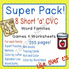 Short /a/ Word Family CVC Games/Centers and Worksheets US/UK Versions from Life Over C's on TeachersNotebook.com -  (256 pages)  - 10 fun activities and printables for the the /a/ CVC word families. Great for word work & literacy centers.
