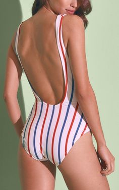 Love the elegant, deeply scooped back on this red, white, and blue stripe swim suit.