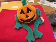 Pumkin the Jack O'Lantern Pumpkin - Ty Beanie Babies Beanie Buddies #BeanieBuddiesHalloween