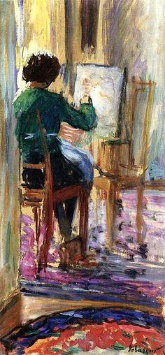 """Marthe at Her Easel"" (c.1915). Henri Lebasque (French, 1865-1937). Oil."