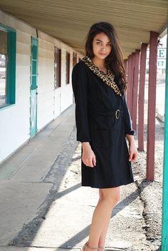 Vintage Wrap Dress 60s Faux Leopard Fur Collar by WaistedVintage1, $64.00