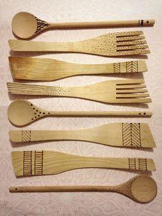 Boho Bonbon: Polttokuvioituja puulastoja - Etched wooden spoons... Wooden Spoons, Candy