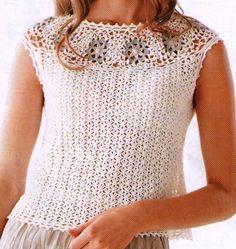 White Circular Yoke Motif Top free crochet graph pattern