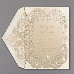 Can't get enough lace? Then this laser-cut, gold shimmer wedding invitation with a lacy border will strike your fancy. A laser-cut envelope liner adds to the romance.