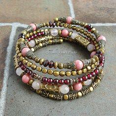 Gemstone Wrap Around Beaded Memory Wire Bracelet Bangle