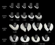 Good examples of ruff collars. Source: Ruff collars from 1560 to More interesting imagery and comparisons between styles in different European countries via this pin. Renaissance Mode, Costume Renaissance, Elizabethan Costume, Elizabethan Fashion, Renaissance Fashion, 1500s Fashion, Elizabethan Era, Victorian Era, Historical Costume