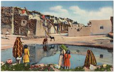 "This is a vintage linen postcard of Acoma Pueblo with Native American Indians distributed by the J.R. Willis. It's a Curteich-Chicago ""C.T. Art Colortone"" card. The condition is very good. There is some wear on the corners and edges. It's postally unused. Please examine photos."