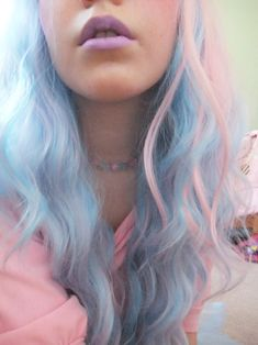 My Little Pony hair and pastel purple lips