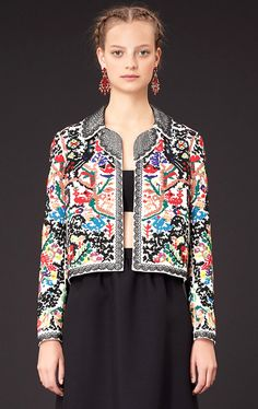 Delicate colorful mosaic embroidery cropped jacket Valentino Resort 2015 #Fashion #Resort15