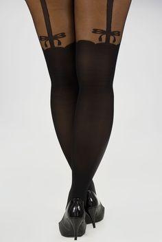 Black bow suspender plus size tights Plus Size 16,18,20,22,24,26,28,30,32