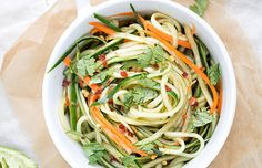 Spicy Peanut Noodle Salad with Cucumbers, Red Peppers and Basil ...