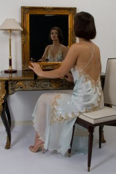 Glamorous luxury nightdress in real silk with French lace. Choice of colours. Made to order in France. Sizes UK8 to UK20