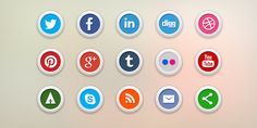 5 free social media icons - Very nice and modern, and can be used on any color background #freebies