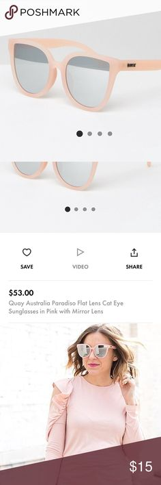 Quay sunglasses. Quay sunglasses with reflective lenses! I've worn twice and they're in great condition. You can see how they look on by the picture of me wearing them. Super cute and right in trend for spring/summer. Currently sold for $53 on asos.com. Quay Australia Accessories Sunglasses