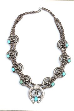 Navajo Style Sterling Silver Turquoise Spider Naja Squash Blossom Necklace