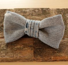 Light Blue Denim Bow Tie With Stitched Center by Scrapcycling