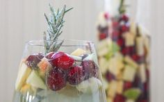 Cranberry & Rosemary White Christmas Sangria - Cooking Stoned