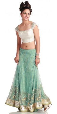 Sea Green Net Lehenga