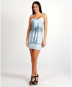 Blue Floral Mini Dress Tube
