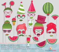 Glitter Summer Watermelon Pool Hawaiian Party Photo Booth