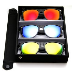 b6e9e626384 Large Horn Rimmed Color Reflective Flash Mirror Lens Sunglasses
