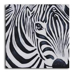 """Zebra Perspective"" Hand-Painted Canvas Art"