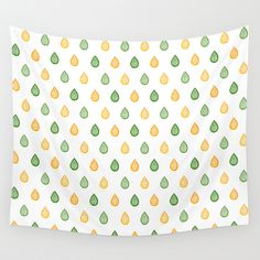 """""""Yellow and green raindrops"""" Wall tapestry by Savousepate on Society6 #walltapestry #homedecor #pattern #zentangle #raindrops #white #yellow #green"""