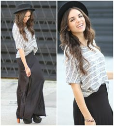 Furor Top, Forever 21 Hat, Furor Skirt, Jeffrey Campbell Shoes - Black Maxi and stripes! - Daniela Ramirez